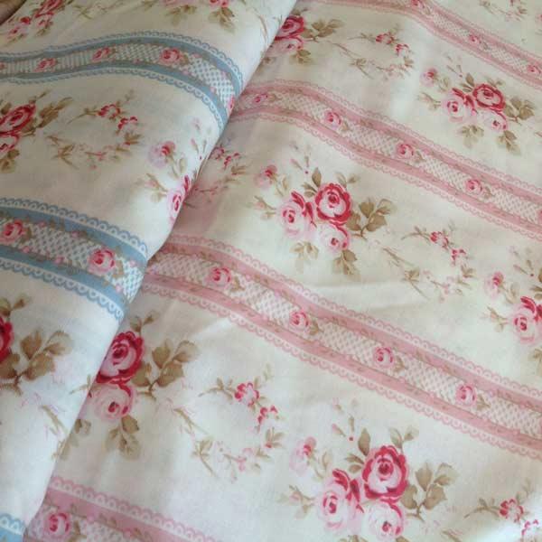 Blue floral stripe/ pink foral stripe