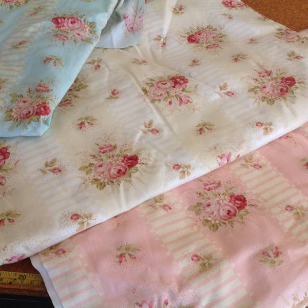 Blue/pink/lemon cottons floral stripe