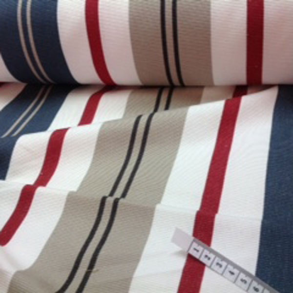 Blue, white, red, tan stripe