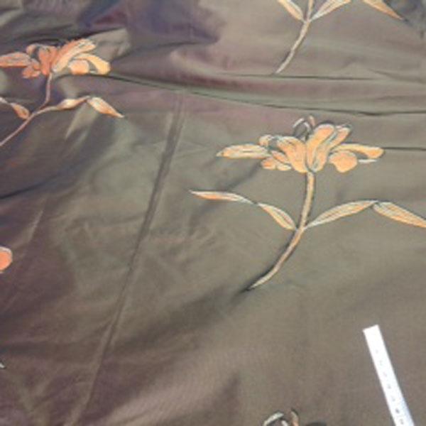 Brown floral taffeta