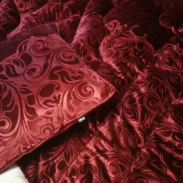 Deep red embossed velvet